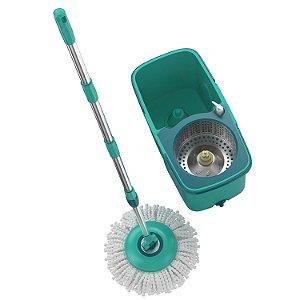 Balde Mop Giratório Pro Com Centrifuga Inox Esfregão e Refil  MOP7824 Flash Limp