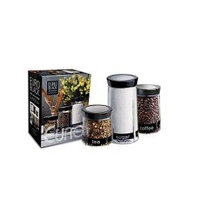 Conjunto de Potes de Vidro Black 3 Peças 80863-3 Euro Home