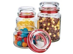 Conjunto de Potes de Vidro Multiuso 3 Peças VDR9040-VM Euro Home