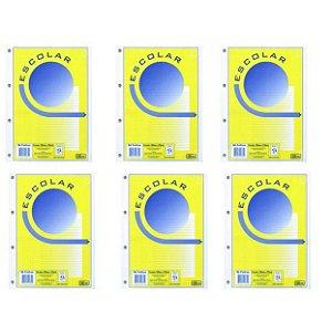Bloco Universitário Para Fichario 96 Folhas Branco Pacote com 06 Unidades R.157813 Tilibra