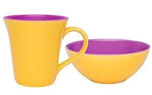 Conjunto Matinal Caneca + Tigela Bicolor Amarelo e Violeta Oxford