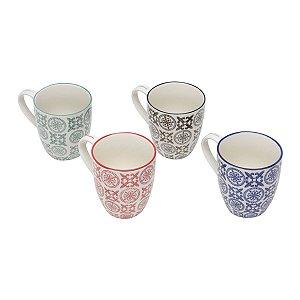 Conjunto Canecas de Porcelana 4 Peças Royal 300ml 6745 Lyor