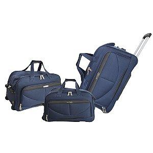 Sacolas de Viagem Com Rodinhas Verona Azul Kit 3 Peças ORS181J07 Santino