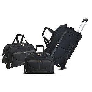 Sacolas de Viagem Com Rodinhas Verona Preta Kit 3 Peças ORS181J01 Santino