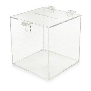 Urna 15x15x15cm PS Cristal caixa transparente fecho sorteio