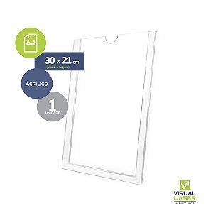 Display de parede Porta Folha A4 21x30cm Com Fita Adesiva PS
