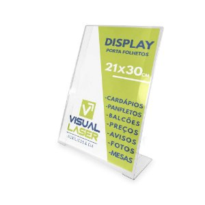 Display Porta Folha A4 Balcão Mesa Cardápio PETG Folder