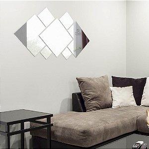Espelho Decorativo Quadrados Grande Sala Cozinha Quarto 1,50x1,25cm