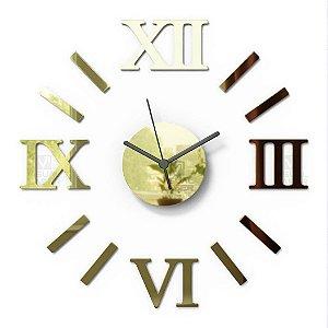 Relógio De Parede Romado Dourado 55cm Monte Você Mesmo