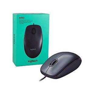 Mouse Logitech M90 Preto Para Notebook Óptico Usb 1000dpi Nf Com Fio
