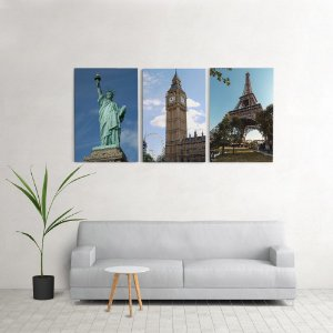 Quadro Decorativo Para Sala 60x120cm Paris Londres Nova york