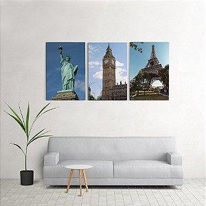 Quadro Decorativo Para Sala 60x120cm Paris Londres Nova york