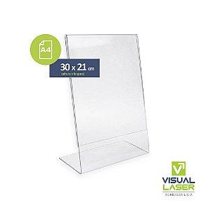 Display Expositor Acrílico Em L Tamanho A4 Ps Cristal Mesa Balcão Vertical
