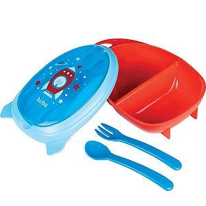 Kit Refeição com Talher Foguete Azul - Buba