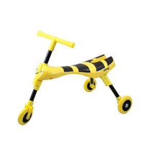 Triciclo Infantil Dobrável Amarelo e Preto - Clingo