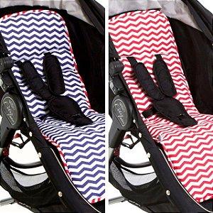 Protetor de Carrinho de Bebe Dupla Face Vermelho Azul Navy Chevron