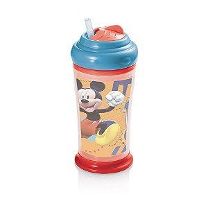 Copo Térmico com Canudo de Silicone Mickey Infantil Multikids Azul