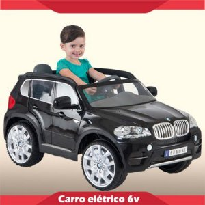 Mini Carrinho Elétrico 6V BMW X5 Preta