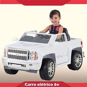 Mini Carrinho Elétrico 6V Silverado Branca