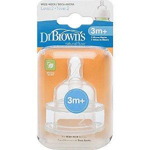 2 BICOS DE SILICONE OPTIONS BOCA LARGA FASE 2 - Dr Browns