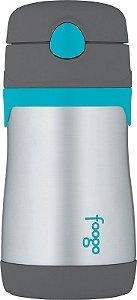 Garrafinha Térmica Cinza e Azul Thermos Foogo  290 ml