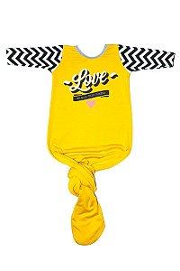 Body Pouch Love Amarelo Menina Manga Longa 0-3 Meses - Comfy