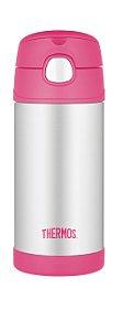 Garrafinha Térmica Funtainer Rosa e Inox Thermos Foogo 335 ml