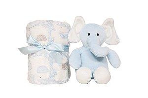 Manta para Bebê Buba Gift Elefantinho Azul