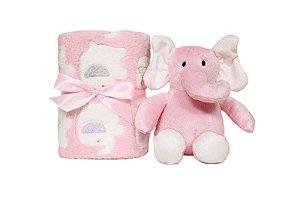 Manta para Bebê Buba Gift Elefantinho Rosa