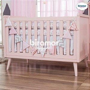 Bandeirinha de Tecido para Quarto de Bebê Patchwork Rosa - Biramar Baby