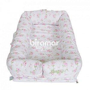 Bercinho Portátil Ninho para Bebê Sleep Um Tiffany Floral Poa Rosa - Biramar Baby
