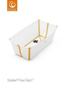 Banheira Portátil Dobrável Branca e Amarela com Plug Térmico - Stokke