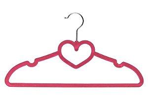 Cabide de Veludo Infantil Modelo Coração Pink - 3 Unidades