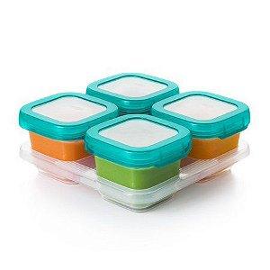 Conjuntos de Potes em Plástico para Armazenar Alimentos com Tampa e Bandeja Oxotot ( 4 x 180 ML)