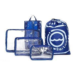 Kit Completo Organizador de Malas Azul