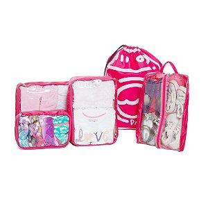 Kit Completo Organizador de Malas Pink
