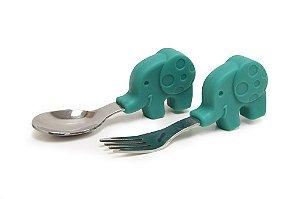 Set de Colher e Garfo Cabo em Silicone Elefante Verde - Marcus & Marcus