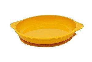 Prato de Silicone com Ventosa Sucção Amarelo - Marcus & Marcus