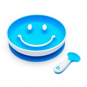 Prato Smile com Ventosa e Colher Azul - Munchkin