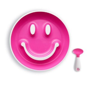 Prato Smile com Ventosa e Colher Rosa - Munchkin