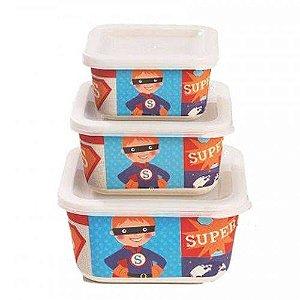 Kit Ecológico com 3 Potes Super Herói - Girotondo Baby