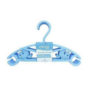 Cabide Infantil Elefantinho Azul C/ 6 unidades - Clingo