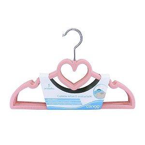 Cabide de Veludo Infantil Modelo Coração Rosa 5 Unidade - Clingo