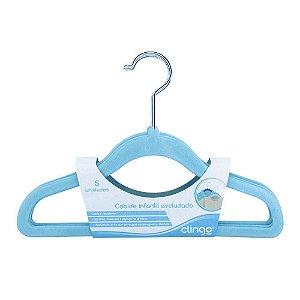 Cabide de Veludo Infantil Modelo Clássico Azul 5 Unidade - Clingo