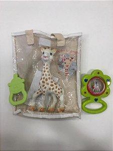 Kit Presente Fresh Touch Sophie La Girafe chocalho Azul