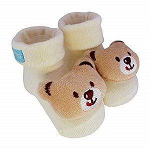 Pantufa com chocalho Urso Bege - Clingo