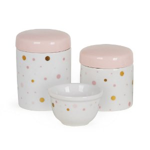 Kit Higiene 3PC Branco e Rosa - Modali