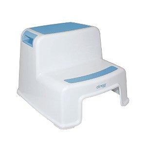 Banquinho para Higiene com 2 Degraus Azul - Clingo