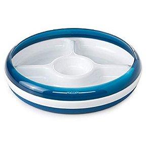 Prato Infantil Três Divisórias Branco e Azul Marinho - Oxotot