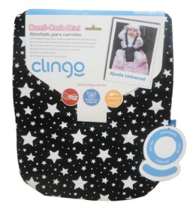 Mini Almofada para Carrinho Comfi Stars Black White - Clingo
